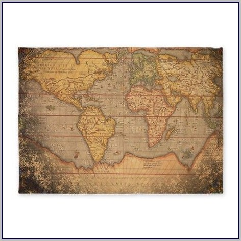 Old World Map Area Rug