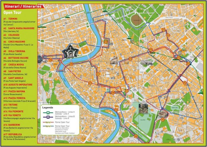 Rome Hop On Hop Off Bus Route Map 110