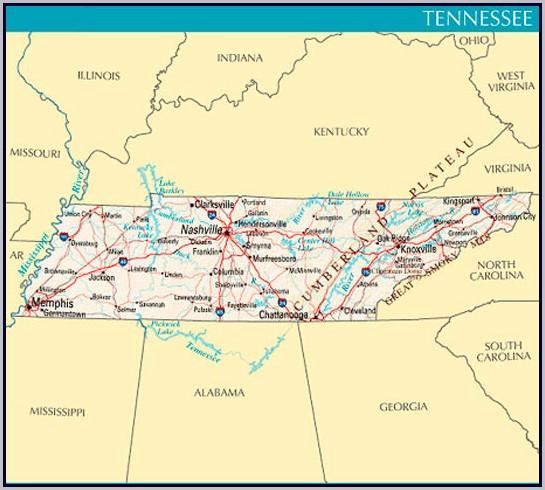Tennessee Map Gatlinburg Nashville   autobedrijfmaatje