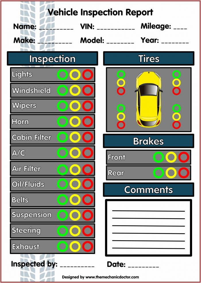 Vehicle Inspection Forms Free