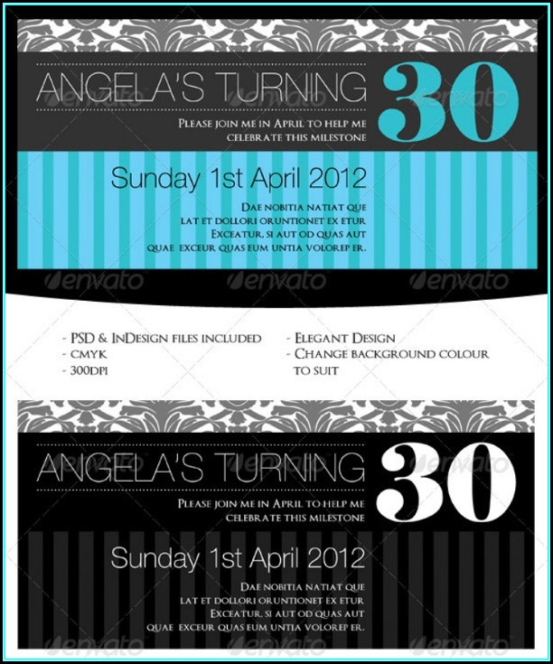 30th Birthday Invites Templates