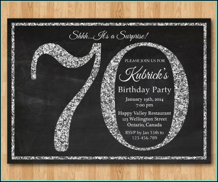 70th Birthday Invites Templates