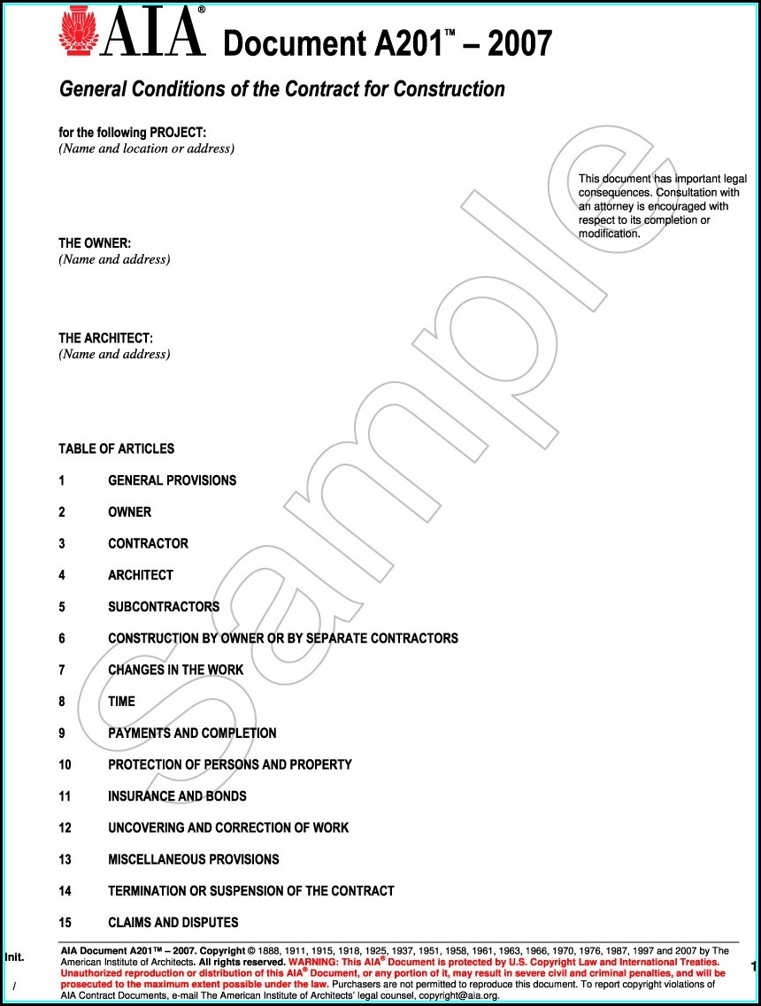Aia Contract Sample