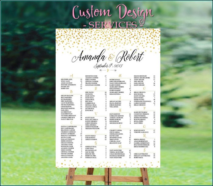 Alphabetical Wedding Seating Chart Poster Template