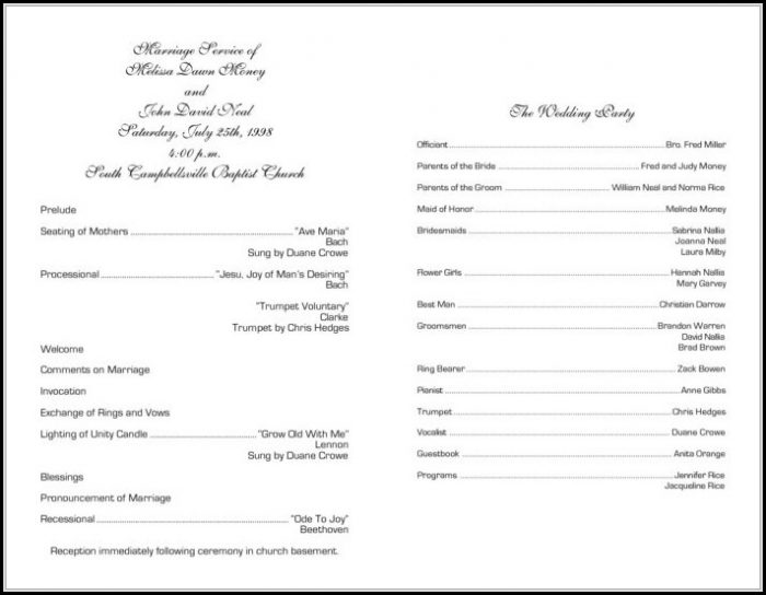 Anglican Church Wedding Program Template