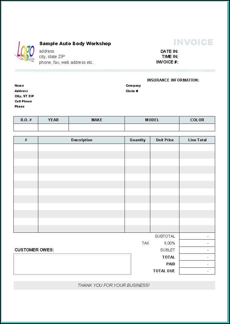 Auto Repair Invoice Template Microsoft Office