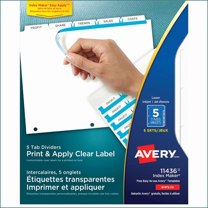 Avery 5 Tab Template 11436