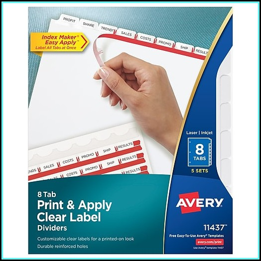 Avery Index Maker Clear Label Dividers 8 Tab Template 11437