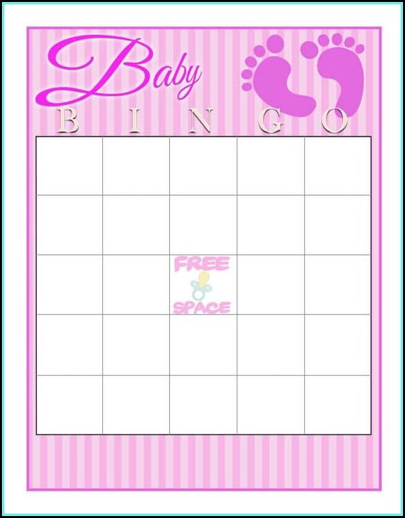 Baby Shower Bingo Template Blank Free