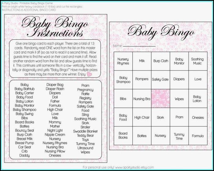 Baby Shower Bingo Template Girl
