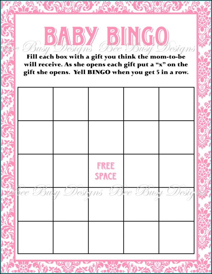 Baby Shower Bingo Template Pdf