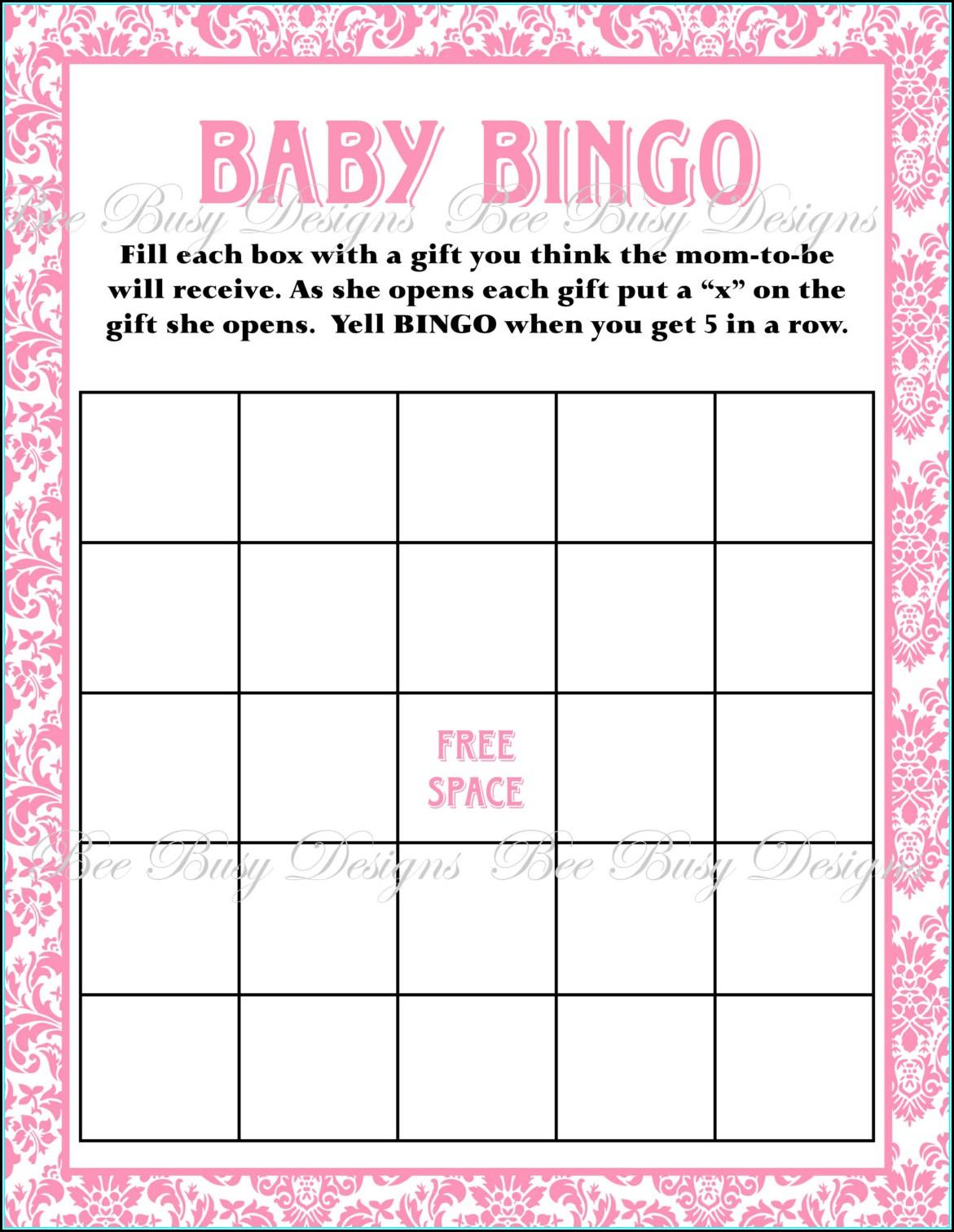 Baby Shower Bingo Template Pdf Template 1 Resume Examples