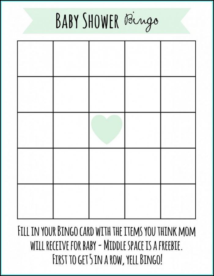 Baby Shower Bingo Template Uk