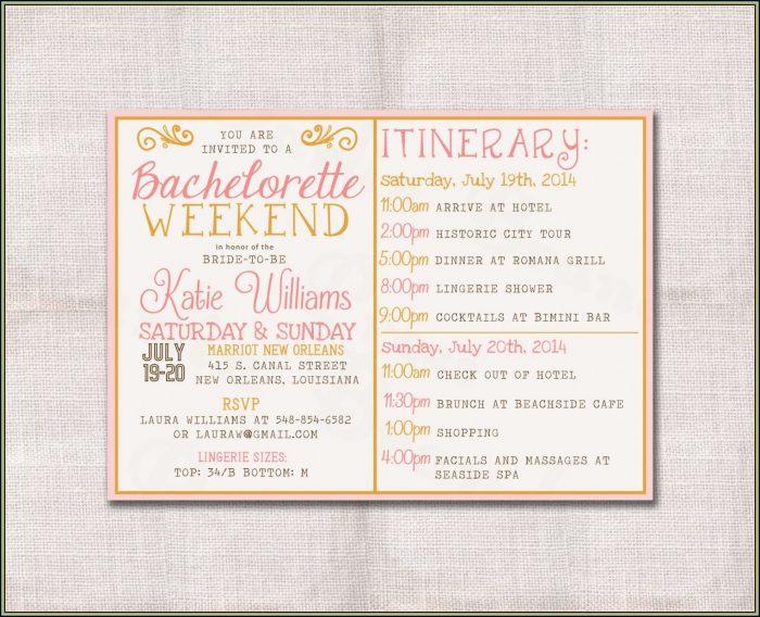Bachelorette Weekend Itinerary Template Free
