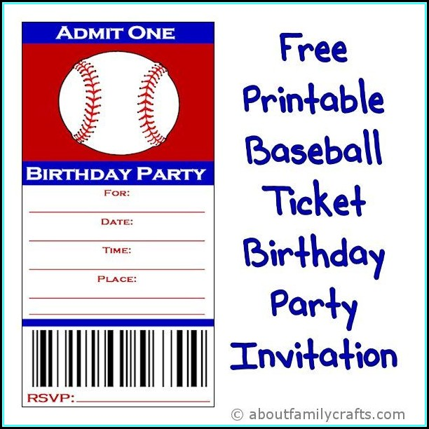 Baseball Party Invitation Template Free