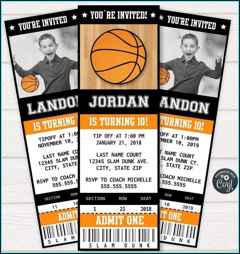 Basketball Ticket Invitation Template Free Template 1 Resume