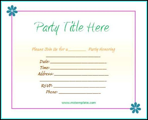 Birthday Party Invitation Template Word Free Template 1 Resume