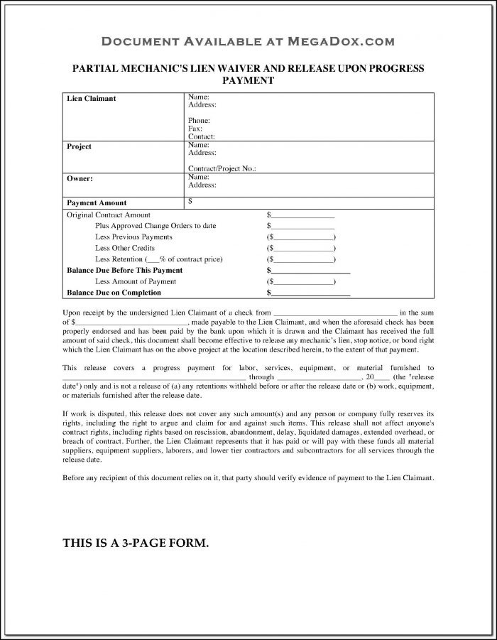 Conditional Lien Waiver Form Ohio