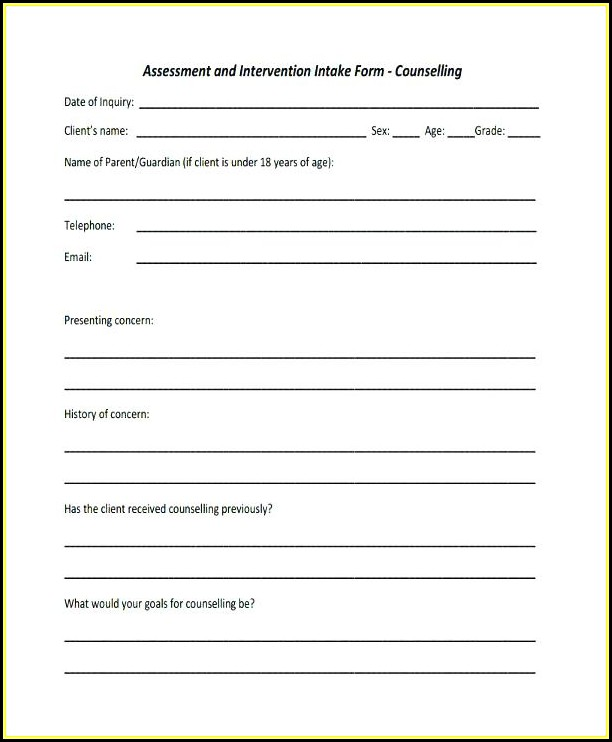 Couning Intake Form Template Australia