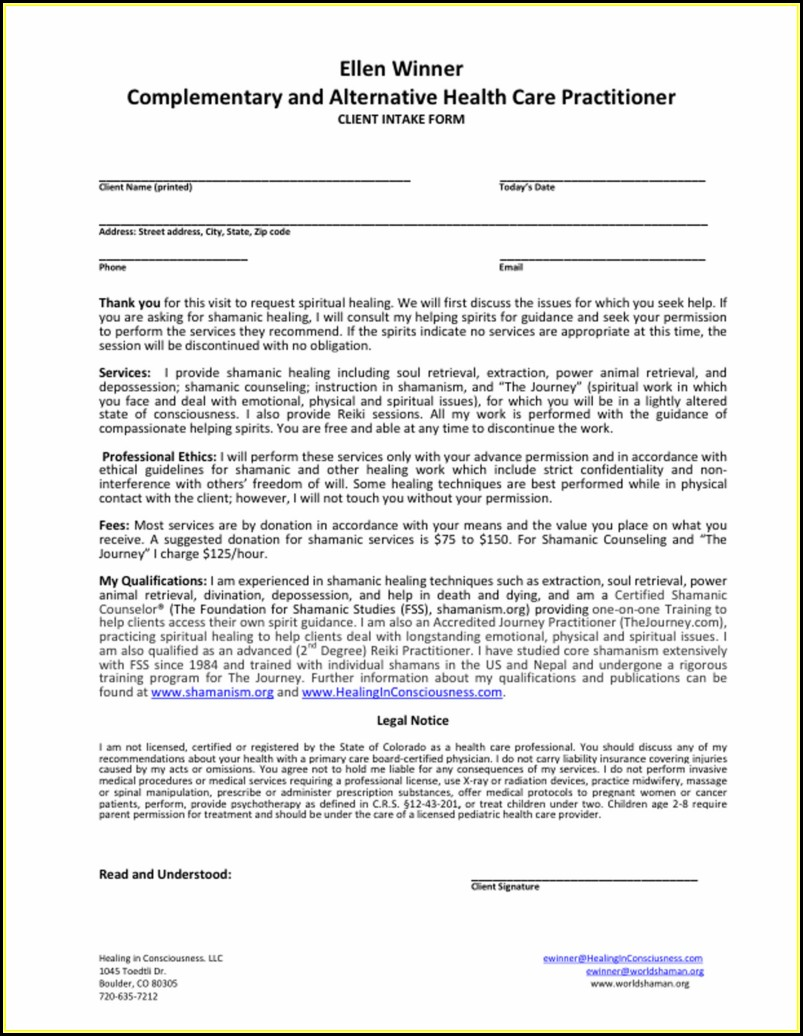 Esthetician Client Intake Forms