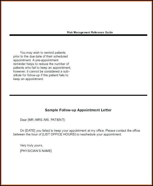 Doctor Appointment Reminder Letter Sample