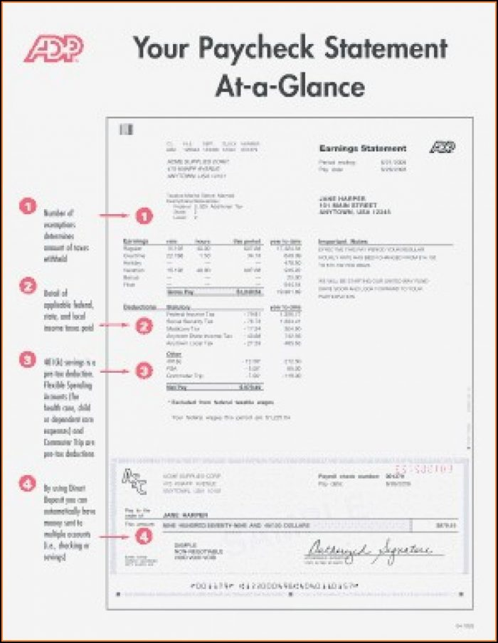 Free Adp Earnings Statement Template