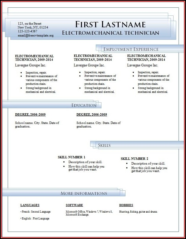 Free Download Resume Templates Microsoft Word 2007