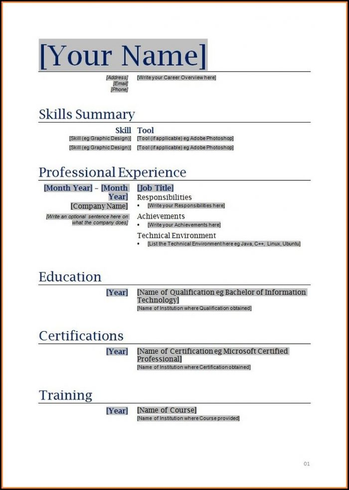 Free Downloadable Resume Templates To Print