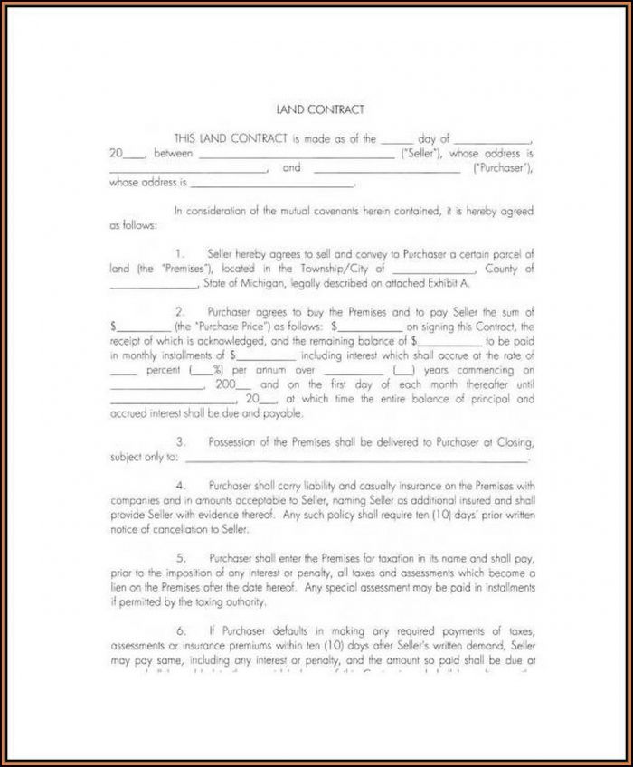 Free Land Contract Forms Indiana