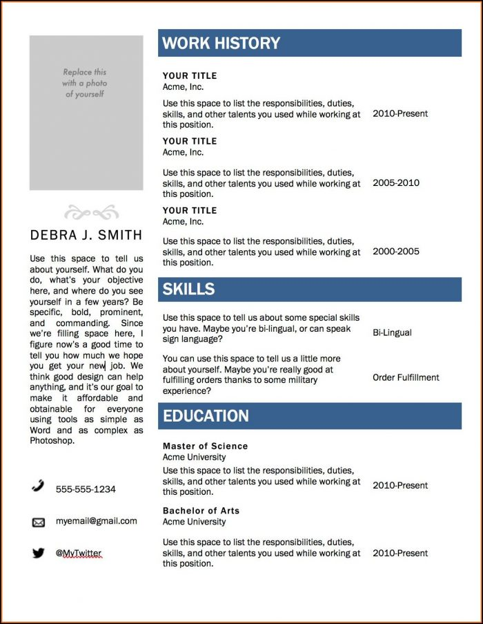 Free Microsoft Office Resume Templates 2015