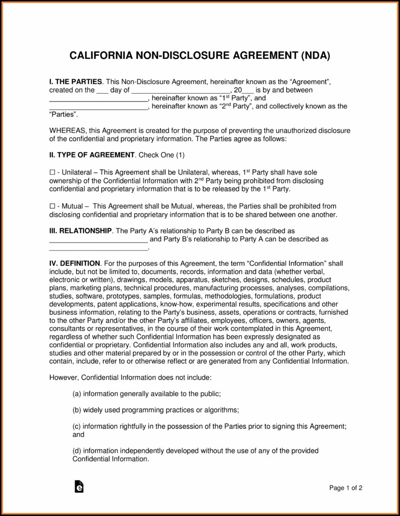 Free Non Disclosure Agreement Template California