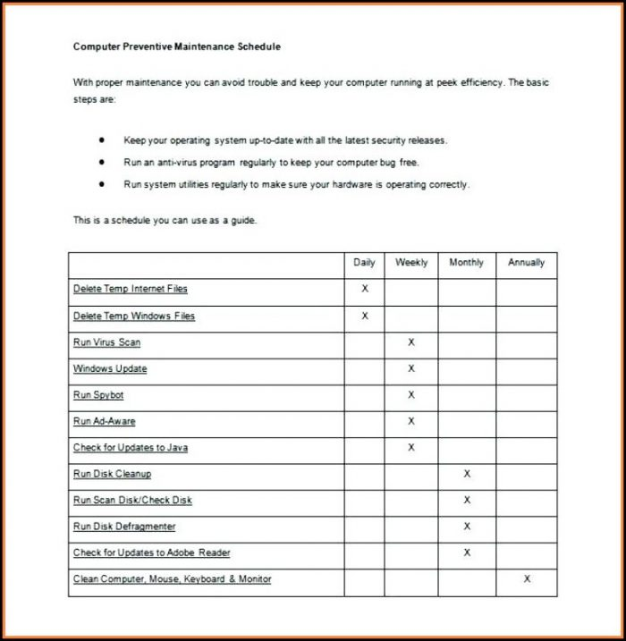 Free Preventive Maintenance Plan Template