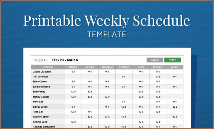 Free Printable Employee Weekly Schedule Template