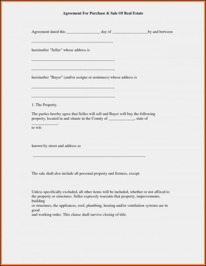 Free Real Estate Buy Sell Agreement Form
