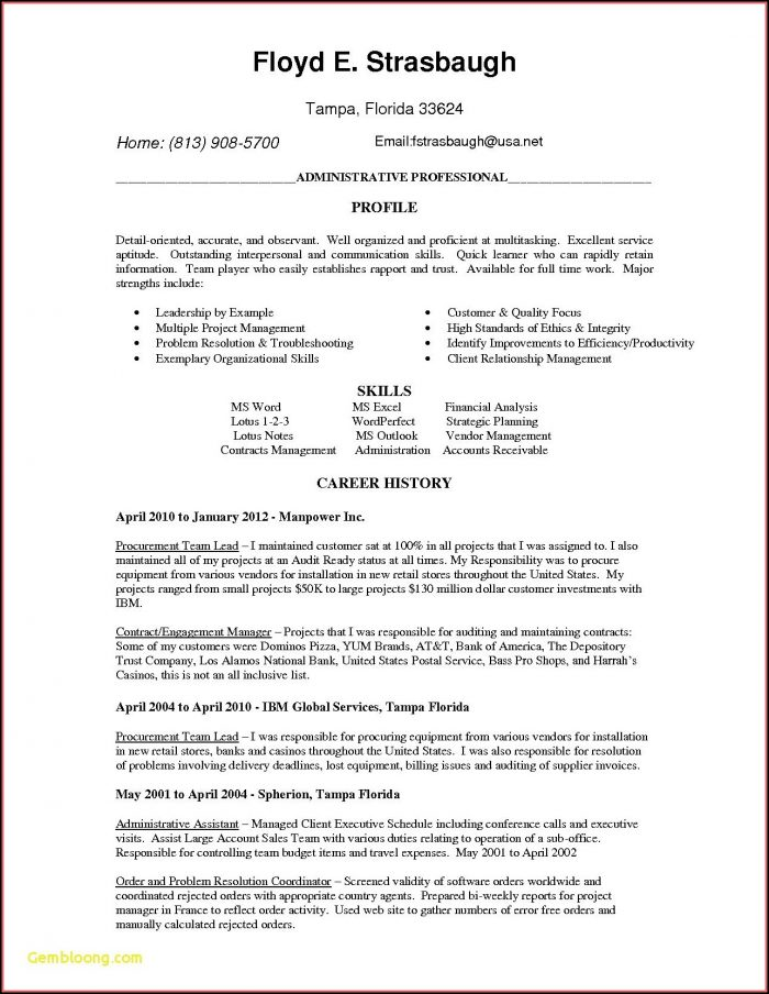 Free Resume Template For Sales Position