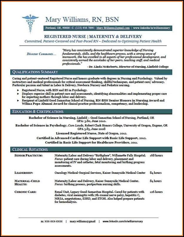 Free Resume Templates For Nurses