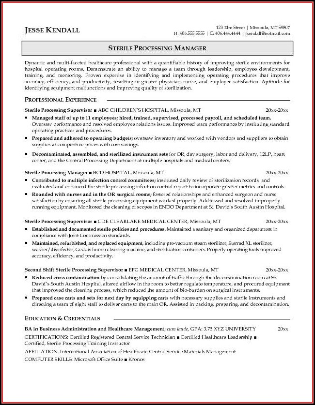 Free Sample Resume For Sterile Processing Technician