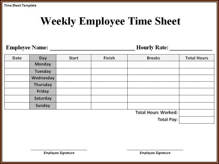 Free Templates For Timesheets