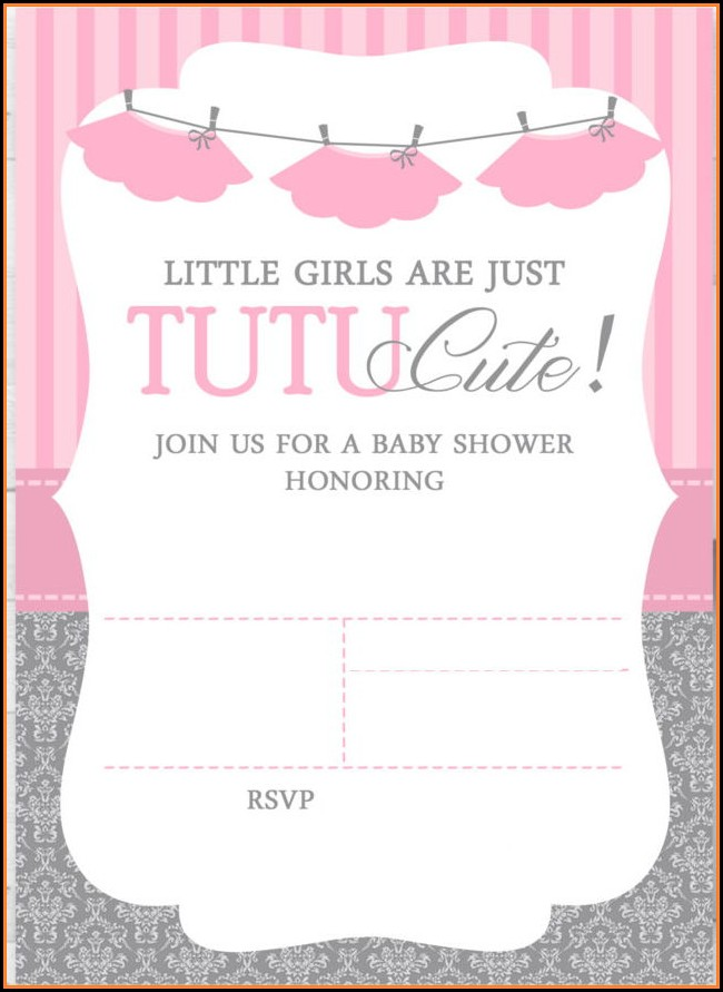Free Tutu Baby Shower Invitations Templates