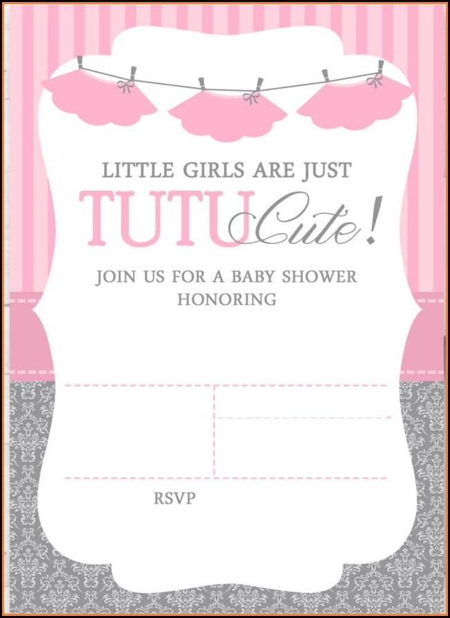 Free Tutu Baby Shower Invitations Templates