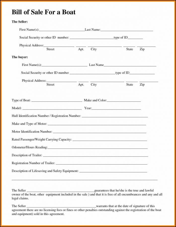 Free Utility Trailer Bill Of Sale Template