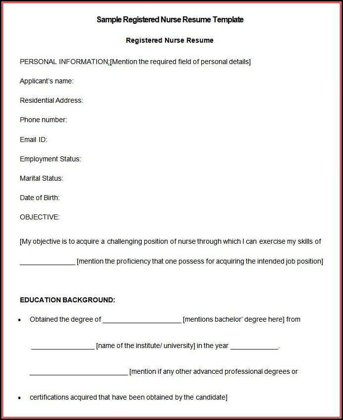 Gnm Nursing Resume Format Free Download