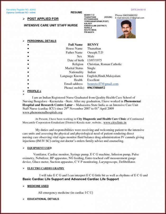 Gnm Nursing Resume Format Pdf