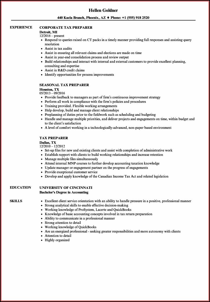 Income Tax Preparer Resume Sample
