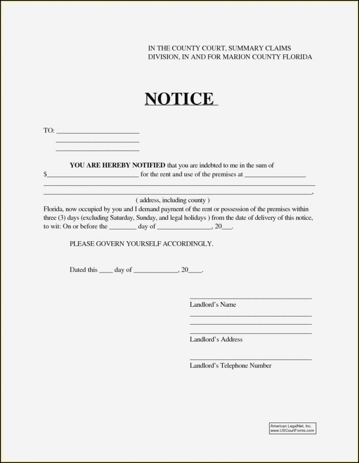 Florida 7 Day Eviction Notice Form