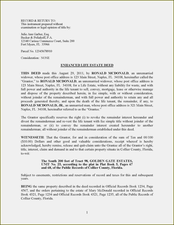 Florida Enhanced Life Estate Deed Form