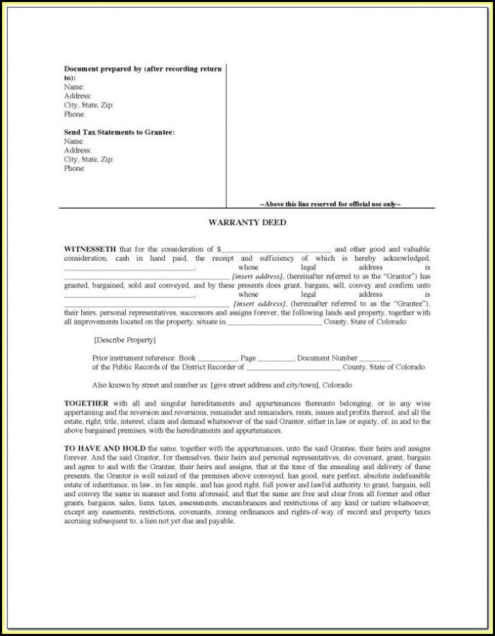 Florida Statutory Warranty Deed Form
