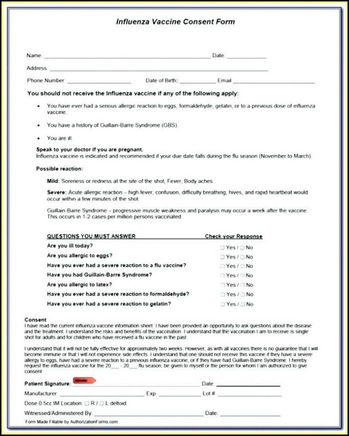 Flu Shot Consent Form Template