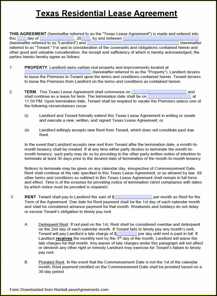 Free Blank Lease Agreement Form Texas