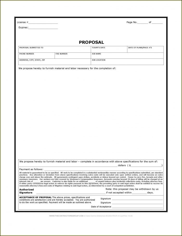 photograph regarding Free Printable Contractor Bid Forms called No cost Printable Contractor Proposal Kinds - Variety : Resume